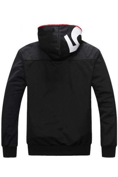 New Stylish Letter Print Long Sleeve Zipper Hooded Warm Coat