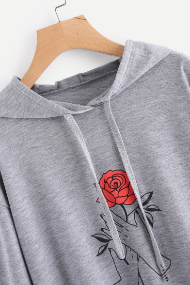 Sleeves Popular Pattern Floral Low High Hem Long Pullover Hoodie wOqZftnxq