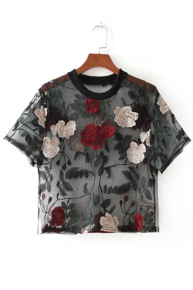 Floral Neck Embroidered Sheer Tee Sleeve Short Sexy Round Cropped Mesh q6aBwd