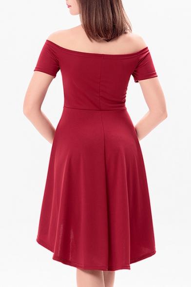 3c71aeb3a3 Sexy Off Shoulder Short Sleeve Simple Plain High Low Hem Dress ...