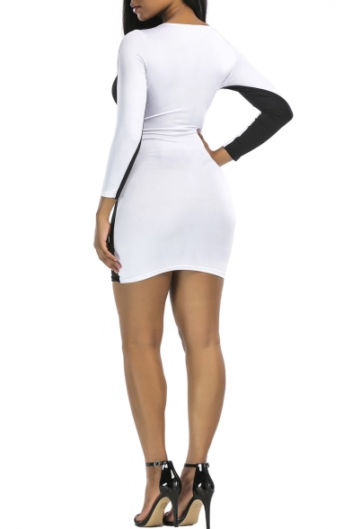 Simple Boat Neck Long Sleeves Color Block Bodycon Mini Fancy Dress