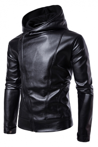 Leather Faux Jacket Hooded Up Long Side Plain Zip Simple Sleeve 8q7wB