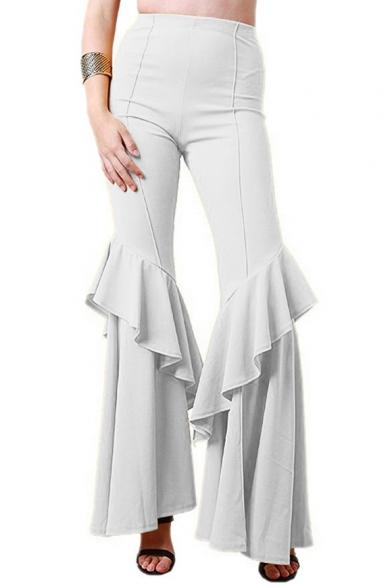 Simple Plain Ruffle Hem High Waist Pants