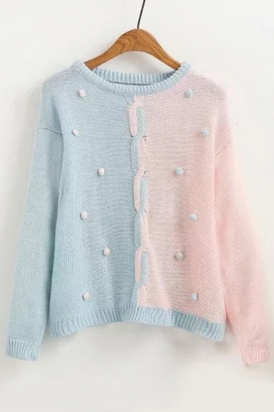 Simple Pompom Knotted Front Color Block Round Neck Long Sleeves Pullover Sweater