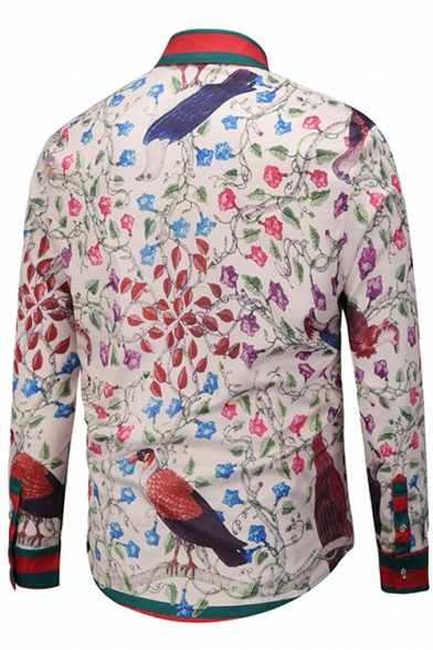 Vintage Style Color Block Striped Floral Bird Pattern Point Collar Long Sleeves Button Down Shirt