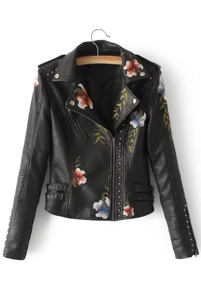 Women's Fashion Floral Embroidered Rivet Embellished Notched Lapel Cool Zippered Biker Jacket