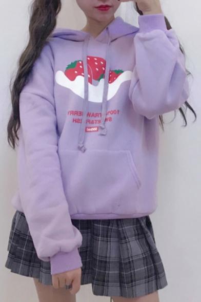 Cartoon Strawberry Print Long Sleeve Loose Hoodie