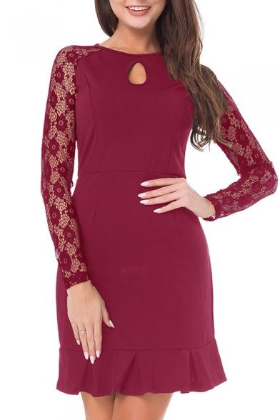 Chic Lace Panel Round Neck Keyhole Front Long Sleeve Ruffle Hem Plain Dress