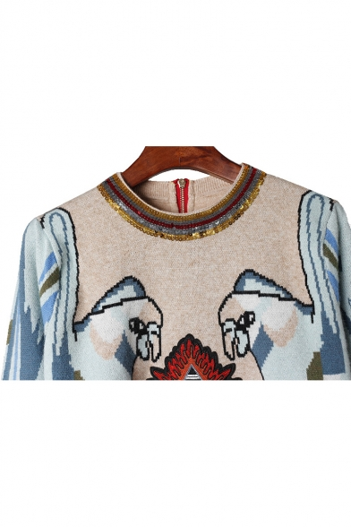 Chic Neck Sequined Sweater Round Sleeve Long Embroidered Parrot Letter arwAxqa4