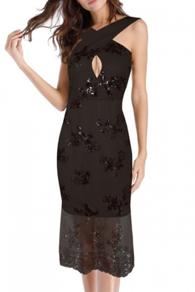 Chic Sequined Embellished Keyhole Cross Strap Front Slip Fishtail Dress