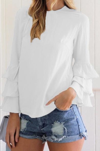 Chic Simple Plain Round Neck Ruffle Hem Long Sleeve Blouse
