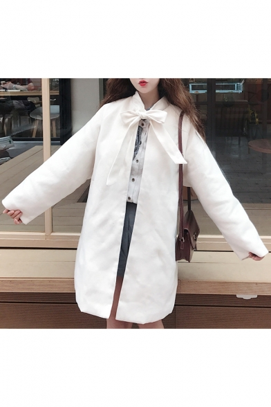 Chic Simple Plain Tie Neck Open Front Long Sleeve Trench Coat