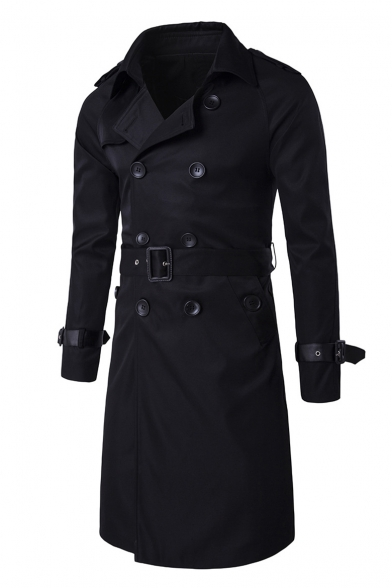 Trench Sleeves Belted Classic Double Breasted Coat Notched Waist Lapel Long Pww6tBxq8