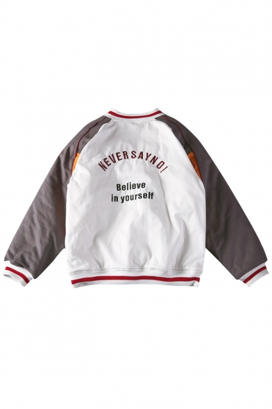 Color Block Letter Embroidered Stand-Up Collar Long Sleeve Baseball Jacket