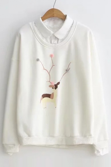 Sleeves Collared Long Layered Pullover with Sweatshirt Pattern Deer Pompoms Elegant wE1dqgx1