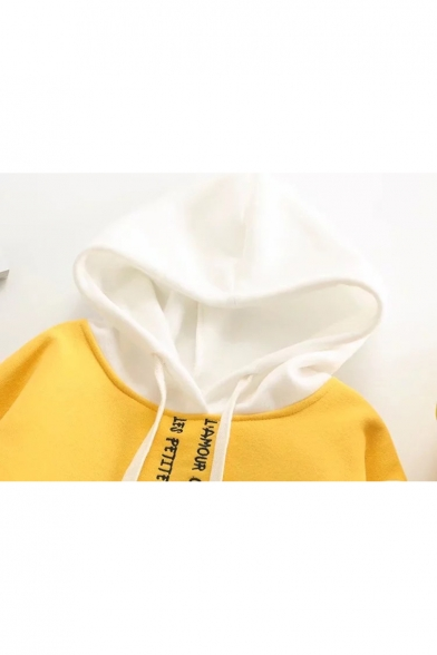 Letter Embroidery Pattern Long Hoodie Sleeve Hood Contrast qqr5gwxdS