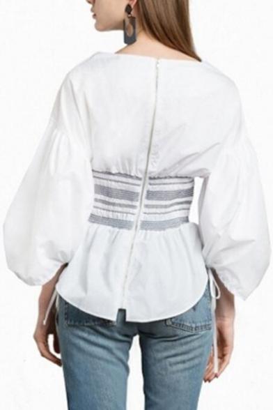Fashion Striped Gathered Waist Round Neck Half Sleeve Blouse