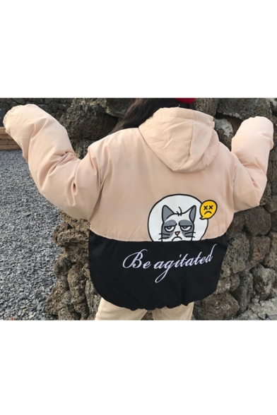 Quilted Block Zippered Pattern Fashionable Pockets with Cat Color Flap Hooded Letter Cartoon Coat qnCZ6w0