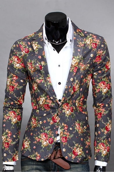 Print Single Split Back Long Sleeve Blazer Button Fashionable Floral Lapel Notch 5fx7TT