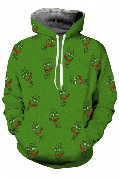 Pattern Pocket Frog Pullover Long Funny Sleeves Allover Meme Face Hoodie with HPwgAqIB