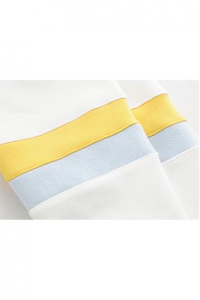 Leisure Color Block Letter Print Long Sleeve Loose Hoodie