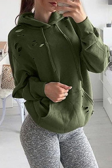 Leisure Cutout Ripped Hollow Long Sleeves Pullover Plain Hoodie with Pocket
