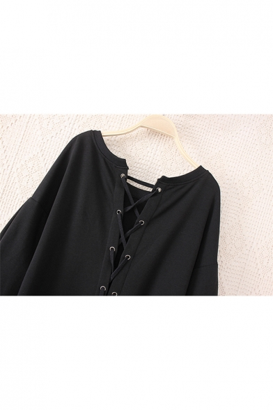 New Design Round Neck Tie Back Long Sleeve Paneled Dress