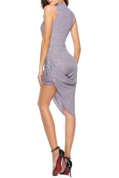 New Stylish Round Neck Simple Plain Knitted Asymmetric Tank Dress