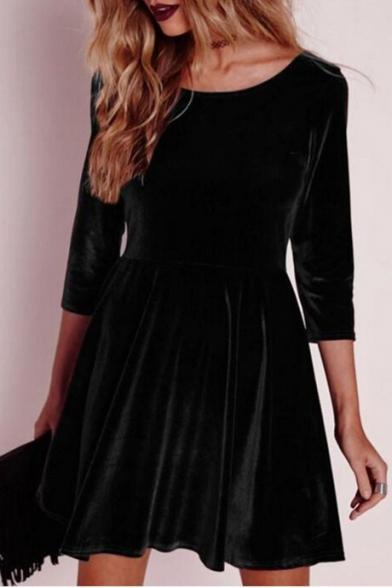 Simple Plain Round Neck Long Sleeve A-line Velvet Mini Dress