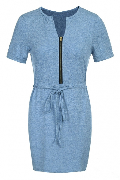 Simple Plain V-Neck Short Sleeve Zip Up Pencil Mini Dress