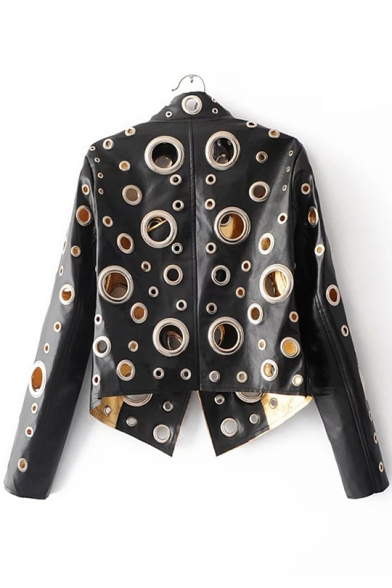 up Embellished Front Jacket Grommets Allover PU Long Sleeves Open Stand Trendy Collar 1wgRIxq