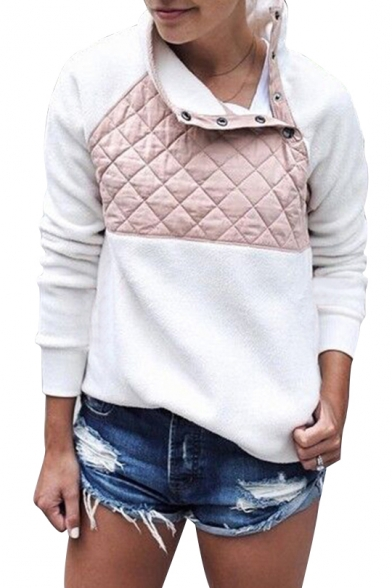 Warm Color Block Quilted Chest Long Sleeves Button Neck Pullover Sweatshirt