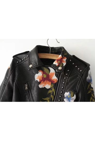 Floral Fashion Cool Biker Lapel Zippered Jacket Women's Embellished Notched Embroidered Rivet 05zdq4w