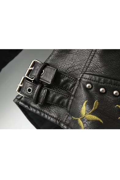 Zippered Fashion Jacket Cool Floral Lapel Embellished Women's Notched Embroidered Rivet Biker UgS78