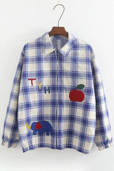 Lapel Letter Apple Coat Cartoon Long Sleeve Plaid Elephant Print Zipper BEZq0