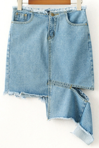 Casual Raw Edged Zipper Fly Ripped Off Hollow Asymmetrical Hem Denim Skirt