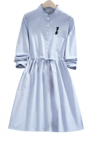 Cat Embroidered Stand Up Collar Buttons Down Drawstring Waist Long Sleeve Midi Dress
