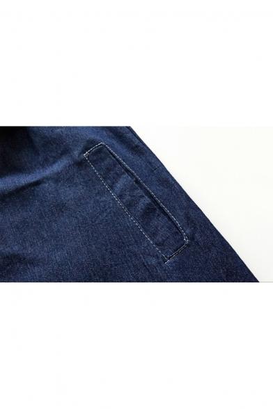 Chic Patchwork Color Block Lapel Long Sleeves Button Down Mini Shift Denim Shirt Dress