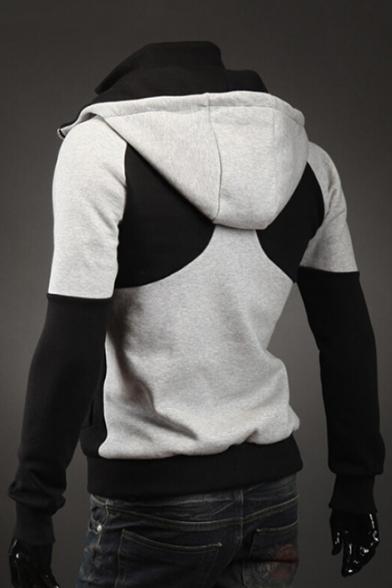 Fashionable Color Block Print Long Sleeve Zipper Hoodie