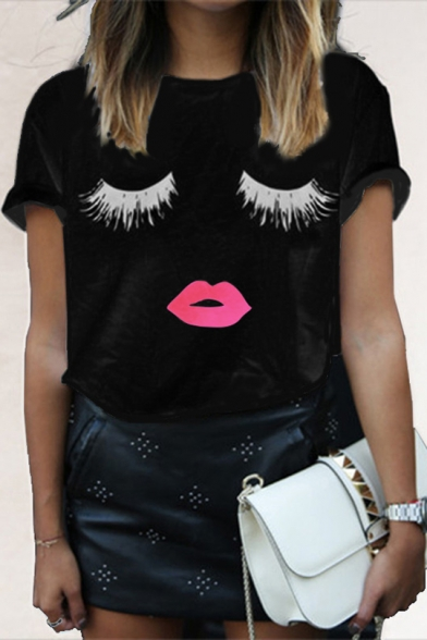 Купить со скидкой Fashionable Eyes Lips Mouth Printed Round Neck Short Sleeve Summer Tee Top