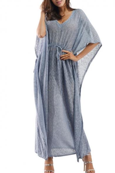 V Fashionable Neck Sleeve Waist Batwing Plain Dress Drawstring qg1HFC4g