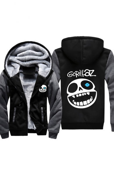 Funny Skull Letter Print Long Sleeve Zipper Hooded Coat