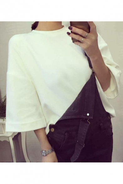 Hot Fashion Crew Neck Wide Sleeves Turn-up Cuffs Loose Spring Tee
