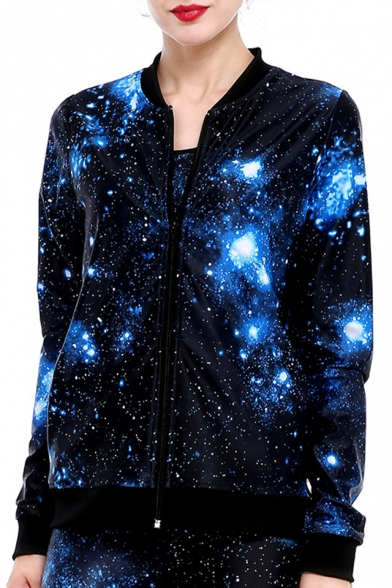 Hot Fashion Galaxy Printed Long Sleeves Zippered Jacket with Pockets
