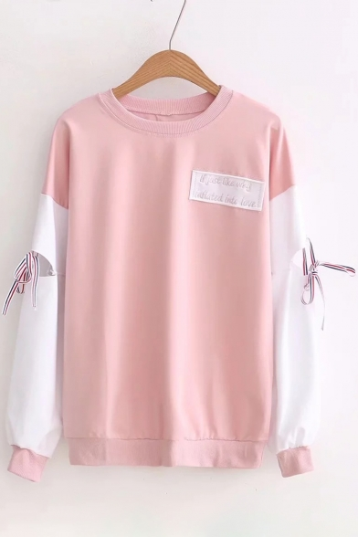 Long Neck Color Round Sweatshirt Block Letter Pattern Pullover Tie Sleeve 4qxZC