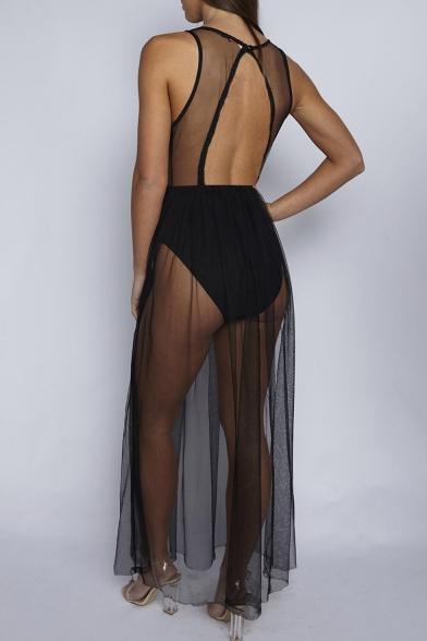 New Trendy Floral Embroidered Sexy Sheer Mesh Panel One Piece Dress Swimwear