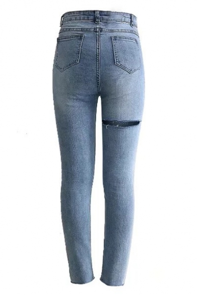 New Trendy Plain Ripped Detail Zip Fly Skinny Jeans