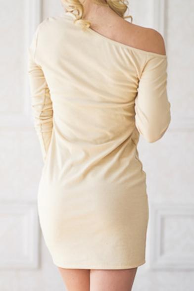 Popular One Shoulder Plain Button Detail Bodycon Mini Dress