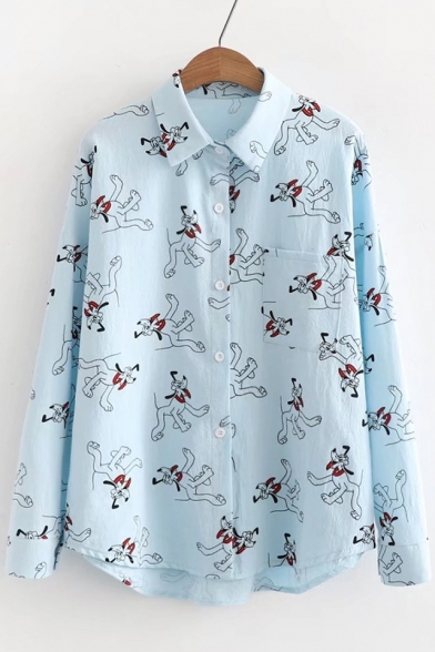 Repetitive Cartoon Dog Print Long Sleeve Button Down Lapel Shirt