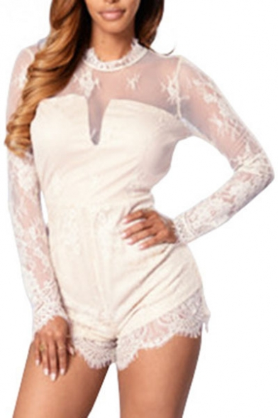 Sexy Cutout Hollow Back Ruffle Neck Long Sleeves Lace Panel Zip-Back Shorts Romper